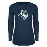 Ladies Syntrel Performance Navy Longsleeve Shirt-Owl Head