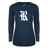 Ladies Syntrel Performance Navy Longsleeve Shirt-R