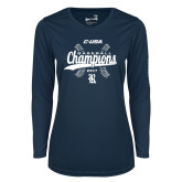 Ladies Syntrel Performance Navy Longsleeve Shirt-Conference USA Baseball Champions