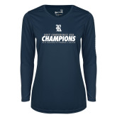 Ladies Syntrel Performance Navy Longsleeve Shirt-2017 Womens Soccer Champions