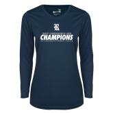 Ladies Syntrel Performance Navy Longsleeve Shirt-2017 Womens Soccer Champions