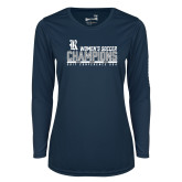 Ladies Syntrel Performance Navy Longsleeve Shirt-2017 Womens Soccer Champions - Bar Design