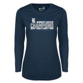 Ladies Syntrel Performance Navy Longsleeve Shirt-2017 Womens Soccer Champions - Bar Design