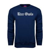 Navy Fleece Crew-Rice Owls Wordmark