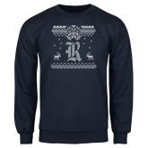 Navy Fleece Crew-Old English R - Ugly Christmas Sweater