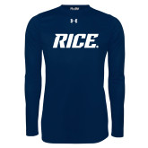 Under Armour Navy Long Sleeve Tech Tee-Rice