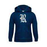 Youth Navy Fleece Hood-Official Logo