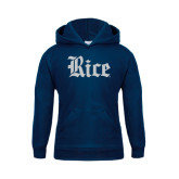 Youth Navy Fleece Hood-Rice Wordmark
