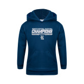 Youth Navy Fleece Hoodie-Womens Basketball Invitational Champions Stencil