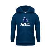 Youth Navy Fleece Hoodie-Full Owl Rice Stacked