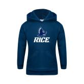 Youth Navy Fleece Hoodie-Full Owl Rice Stacked