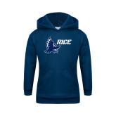 Youth Navy Fleece Hoodie-Full Owl Rice