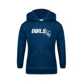 Youth Navy Fleece Hoodie-Owls With Owl Head