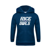 Youth Navy Fleece Hoodie-Rice Owls Stacked