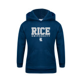 Youth Navy Fleece Hoodie-Rice University Stacked