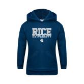 Youth Navy Fleece Hood-Rice University Stacked