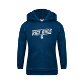 Youth Navy Fleece Hoodie-Rice Owls Fancy Lines