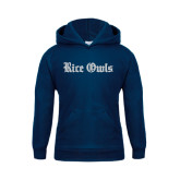 Youth Navy Fleece Hood-Rice Owls Wordmark