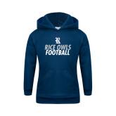 Youth Navy Fleece Hood-Football