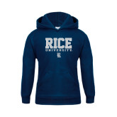 Youth Navy Fleece Hood-Rice University Stacked