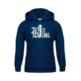 Youth Navy Fleece Hood-Rice Rising