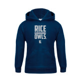 Youth Navy Fleece Hood-Rice University Owls