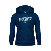 Youth Navy Fleece Hood-Rice Owls Athletic Design