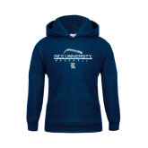 Youth Navy Fleece Hood-Stacked Stiches Baseball Design