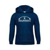 Youth Navy Fleece Hood-Arched Football Design