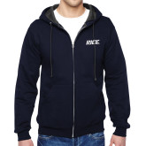 Navy Fleece Full Zip Hood-Rice