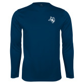 Syntrel Performance Navy Longsleeve Shirt-Owl Head