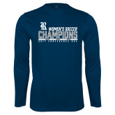 Performance Navy Longsleeve Shirt-2017 Womens Soccer Champions - Bar Design