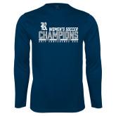 Syntrel Performance Navy Longsleeve Shirt-2017 Womens Soccer Champions - Bar Design