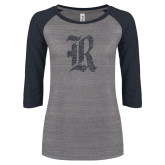 ENZA Ladies Athletic Heather/Navy Vintage Triblend Baseball Tee-R Graphite Soft Glitter