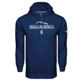 Under Armour Navy Performance Sweats Team Hood-Stacked Stiches Baseball Design