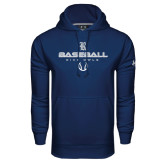 Under Armour Navy Performance Sweats Team Hood-Stacked Baseball Design
