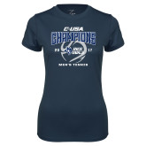 Ladies Syntrel Performance Navy Tee-Conference USA Mens Tennis Champions