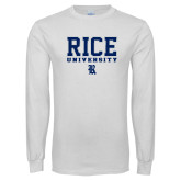 White Long Sleeve T Shirt-Rice University Stacked
