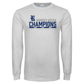 White Long Sleeve T Shirt-2017 Womens Soccer Champions - Bar Design