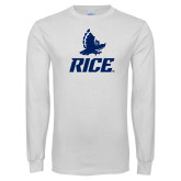 White Long Sleeve T Shirt-Full Owl Rice Stacked