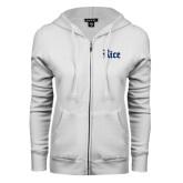ENZA Ladies White Fleece Full Zip Hoodie-Rice Wordmark