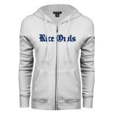 ENZA Ladies White Fleece Full Zip Hoodie-Rice Owls Wordmark