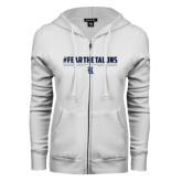 ENZA Ladies White Fleece Full Zip Hoodie-#FEARTHETALONS