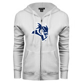 ENZA Ladies White Fleece Full Zip Hoodie-Owl Head