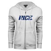 ENZA Ladies White Fleece Full Zip Hoodie-Rice