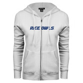 ENZA Ladies White Fleece Full Zip Hoodie-Rice Owls