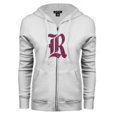 ENZA Ladies White Fleece Full Zip Hoodie-R Pink Glitter