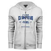 ENZA Ladies White Fleece Full Zip Hoodie-Conference USA Mens Tennis Champions