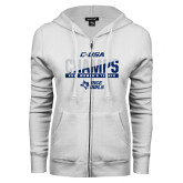 ENZA Ladies White Fleece Full Zip Hoodie-Conference USA Womens Tennis Champions