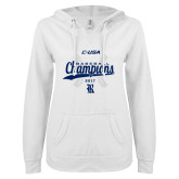 ENZA Ladies White V Notch Raw Edge Fleece Hoodie-Conference USA Baseball Champions